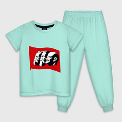 Пижама хлопковая детская Маркс, Энгельс, Ленин цвета мятный — фото 1
