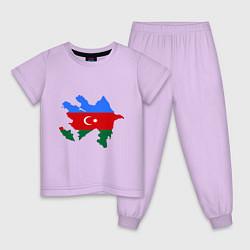 Пижама хлопковая детская Azerbaijan map цвета лаванда — фото 1
