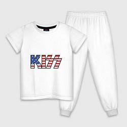 Пижама хлопковая детская KIss USA цвета белый — фото 1