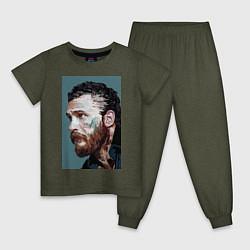 Пижама хлопковая детская Том Харди Ван Гога цвета меланж-хаки — фото 1