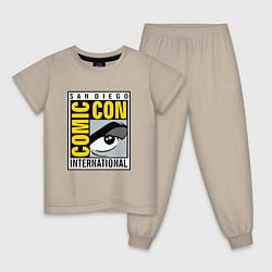 Пижама хлопковая детская Comic con San Diego цвета миндальный — фото 1