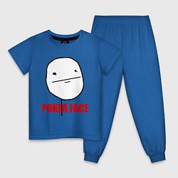 Пижама хлопковая детская Poker Face цвета синий — фото 1