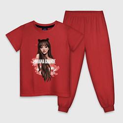 Пижама хлопковая детская Ariana Grande: Flowers цвета красный — фото 1