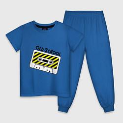 Пижама хлопковая детская Old school. Кассета цвета синий — фото 1