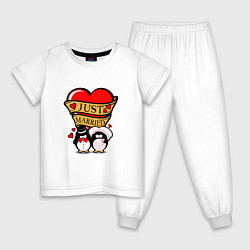 Пижама хлопковая детская Just Married / Молодожены цвета белый — фото 1