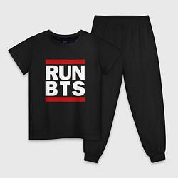 Пижама хлопковая детская RUN BTS цвета черный — фото 1