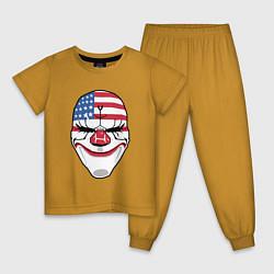 Пижама хлопковая детская American Mask цвета горчичный — фото 1
