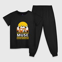 Пижама хлопковая детская Muse: Black Holes цвета черный — фото 1