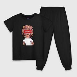 Пижама хлопковая детская Lil Pump: Esketit Style цвета черный — фото 1