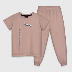 Пижама хлопковая детская Jaguar Motors цвета пыльно-розовый — фото 1