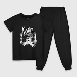 Пижама хлопковая детская Korn цвета черный — фото 1
