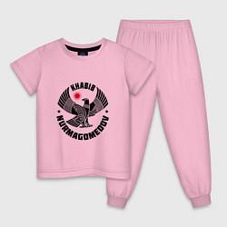 Пижама хлопковая детская Khabib: Dagestan Eagle цвета светло-розовый — фото 1