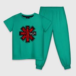 Пижама хлопковая детская Red Hot Chili Peppers цвета зеленый — фото 1