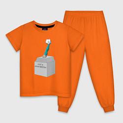 Пижама хлопковая детская Нога Акинфеева цвета оранжевый — фото 1