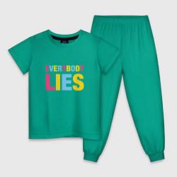 Пижама хлопковая детская Everybody Lies цвета зеленый — фото 1