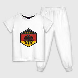 Пижама хлопковая детская Немецкий фанат цвета белый — фото 1
