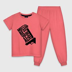 Пижама хлопковая детская More 2Pac цвета коралловый — фото 1