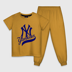 Пижама хлопковая детская NY - Yankees цвета горчичный — фото 1