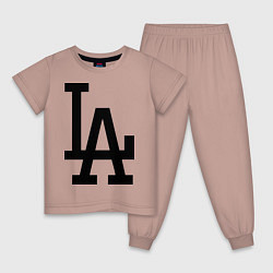 Пижама хлопковая детская LA: Los Angeles цвета пыльно-розовый — фото 1