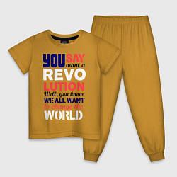 Пижама хлопковая детская The Beatles Revolution цвета горчичный — фото 1