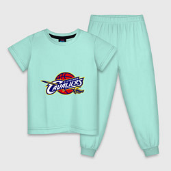 Пижама хлопковая детская Cleveland цвета мятный — фото 1