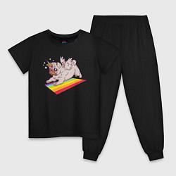 Пижама хлопковая детская Мопс-единорог цвета черный — фото 1