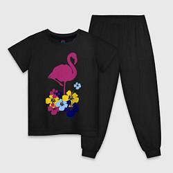 Пижама хлопковая детская Фиолетовый фламинго цвета черный — фото 1