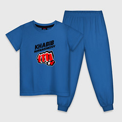 Пижама хлопковая детская Khabib Fighter цвета синий — фото 1