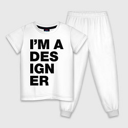 Пижама хлопковая детская I am a designer цвета белый — фото 1