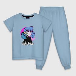 Пижама хлопковая детская Sally Face цвета мягкое небо — фото 1