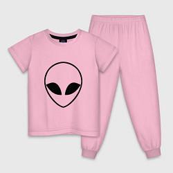 Пижама хлопковая детская Гуманоид цвета светло-розовый — фото 1