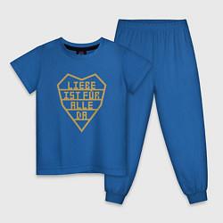 Пижама хлопковая детская Rammstein: Liebe ist fur alle da цвета синий — фото 1