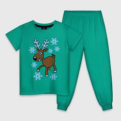 Пижама хлопковая детская Олень и снег цвета зеленый — фото 1