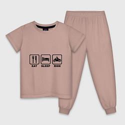 Пижама хлопковая детская Eat Sleep Ride цвета пыльно-розовый — фото 1