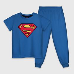 Пижама хлопковая детская Superman logo цвета синий — фото 1