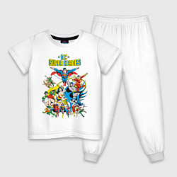 Пижама хлопковая детская Justice League цвета белый — фото 1