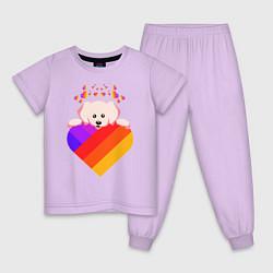 Пижама хлопковая детская LIKEE цвета лаванда — фото 1