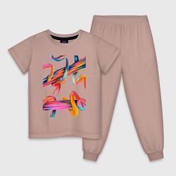 Пижама хлопковая детская Извилины цвета пыльно-розовый — фото 1