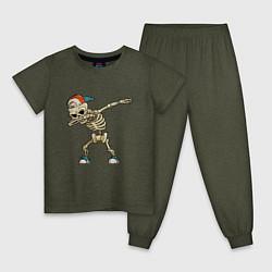 Пижама хлопковая детская Dab Skeleton цвета меланж-хаки — фото 1