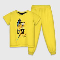 Пижама хлопковая детская Born Freedom цвета желтый — фото 1