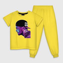 Пижама хлопковая детская ATL цвета желтый — фото 1