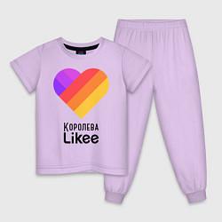 Пижама хлопковая детская Королева Likee цвета лаванда — фото 1