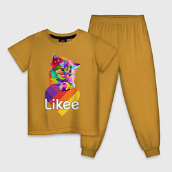 Пижама хлопковая детская Likee LIKE Video цвета горчичный — фото 1