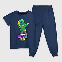 Пижама хлопковая детская Brawl Stars Leon, Dab цвета тёмно-синий — фото 1