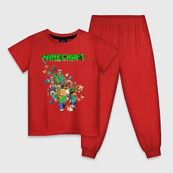 Пижама хлопковая детская Minecraft цвета красный — фото 1