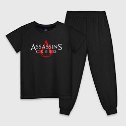Пижама хлопковая детская Assassin's Creed цвета черный — фото 1