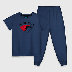 Пижама хлопковая детская El Cucuy на спине цвета тёмно-синий — фото 1