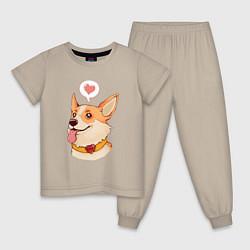 Пижама хлопковая детская КОРГИ цвета миндальный — фото 1