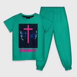 Пижама хлопковая детская STARBOY цвета зеленый — фото 1