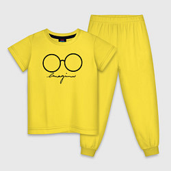 Пижама хлопковая детская Imagine John Lennon цвета желтый — фото 1
